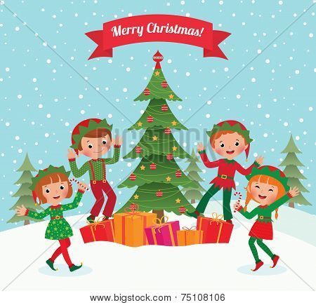 Elves And Christmas Tree
