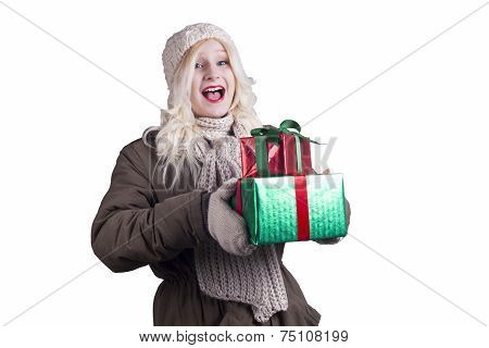 Smiling Blonde Woman With Christmas Gifts