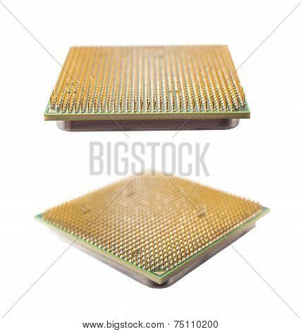 Two Computer Chip Closeup