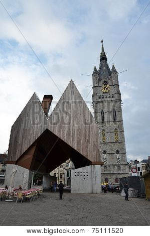 City Market Hall With Belfry Of Ghent, Belgium