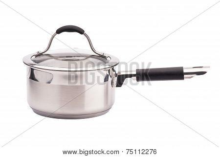 Metal saucepan on white background