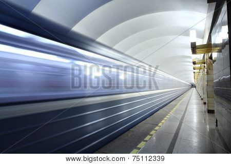 Public Passenger Transport, Metro Station,  Train Departs From Subway Platform.