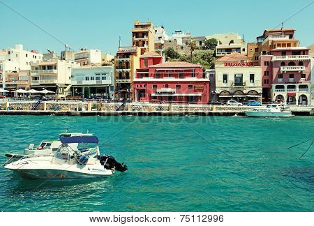 Harbor Of Agios Nikolaos, Crete, Greece.
