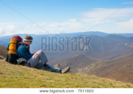 Hiker Using Mobile Device