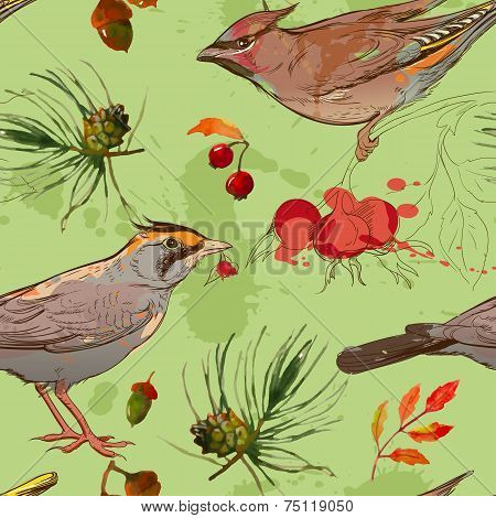 seamless patterm with bird and autumn elements