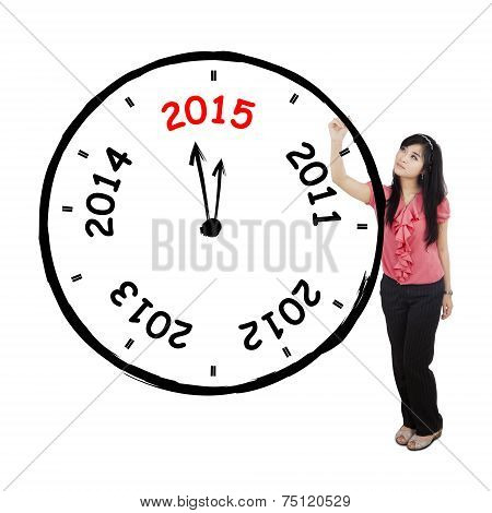 Pretty Woman Drawing Annual Clock