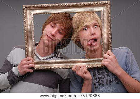 two brothers, portraits,