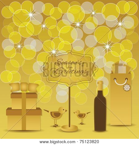 Season's Greetings - Golden yellow light dots and gifts