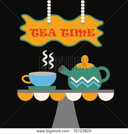 Tea Time - Cute abstract cup of tea and a tea pot