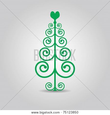 Abstract Christmas love tree green icon