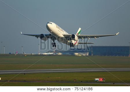 BUDAPEST, HUNGARY - OCTOBER 17: Emirates Airbus A330 taking off at Budapest Airport, October 27th 2014. This was the first ever Emirates flight to Budapest.