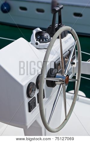 Sailing Yacht Control Wheel And Implement.