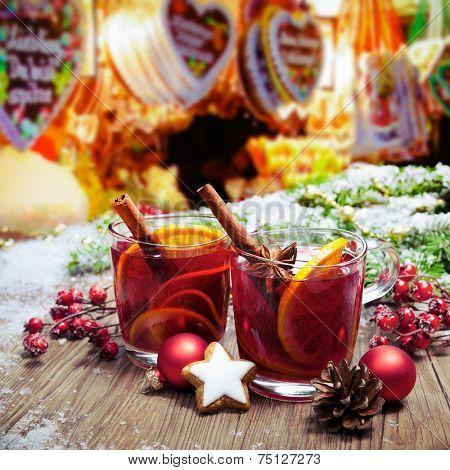 Two glasses of  mulled wine on german christkindl markt