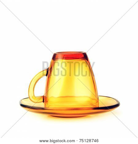 Empty Yellow Glass Mug