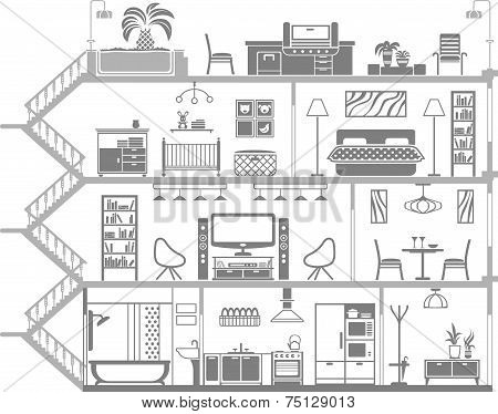 House Interior Silhouette