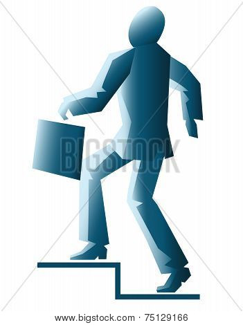 simplified businessman with briefcase