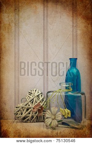 Beautiful Bottle And Vase With Heart Still Life Love Concept
