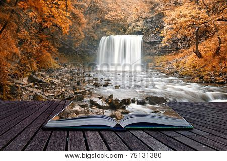 Beautiful Woodland Stream And Waterfall In Summer Conceptual Book Image