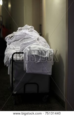Cleaning Cart With Bedclothes
