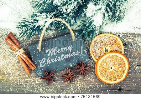 Christmas Decoration With Slate Board, Over Wooden Background