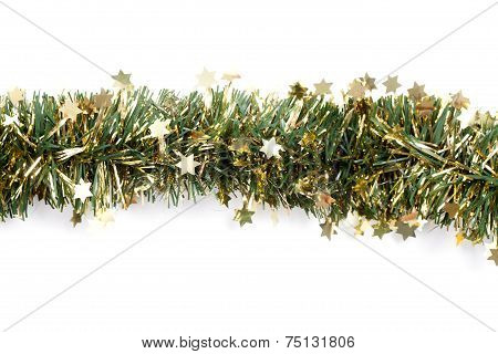 Artificial Fir Branch Garland With Tinsel