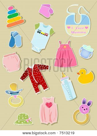 Baby elements, clothes and  illustration