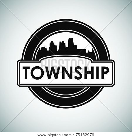 Vector Emblem with silhouette town and inscription township