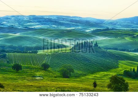 Foggy dawn over the rural house with vineyards in San Quirico d'Orcia