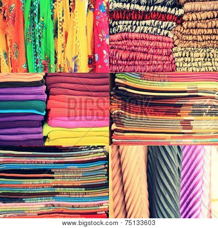 Set of textile material in a stack. Colorful cloth collection of images. Different colors of fabric,