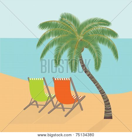 Chaise Lounges Under A Palm Tree On The Sea Coast