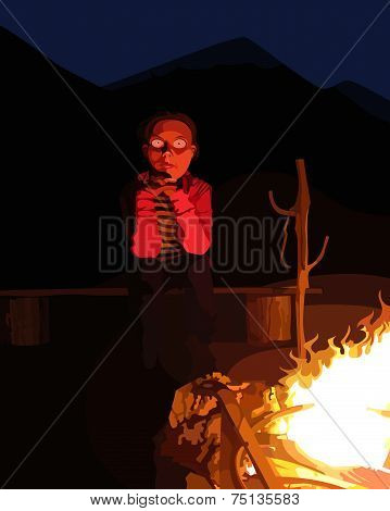 Cartoon Man Sitting By The Campfire At Night.eps