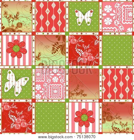 Patchwork Retro Floral Texture Pattern Background