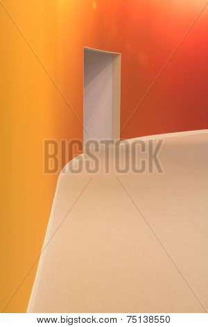 Orange Wall And Open Entrance In A Empty Room