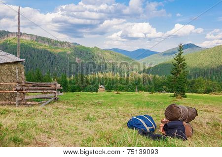 Knapsacks Bags On The Background Of The Forest Landscape. Carpathians.