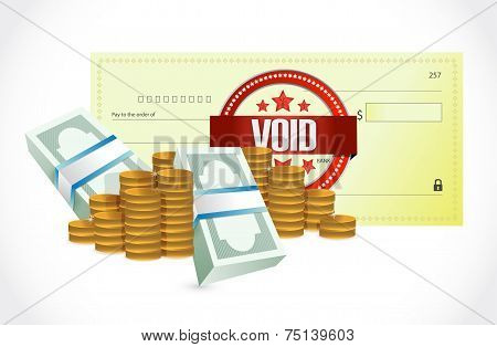 Void Bank Check And Money Illustration