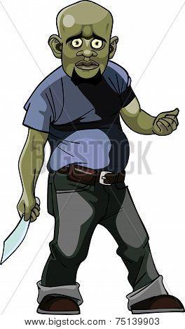 Cartoon Goblin Man Thug With A Knife.eps