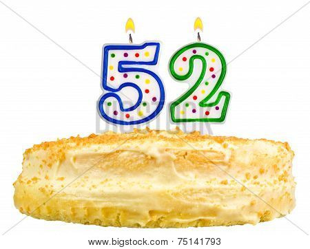 Birthday Cake Candles Number Fifty Two Isolated