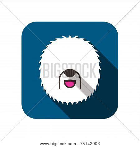 Old english sheeodog animal flat icon