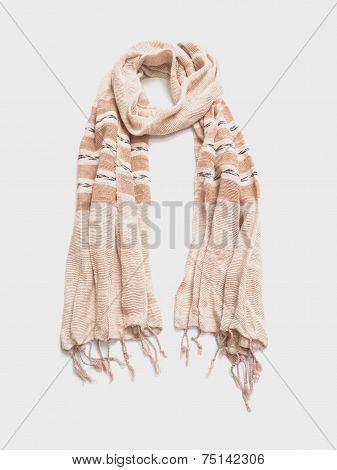 Beige Tweed Fabric Scarf