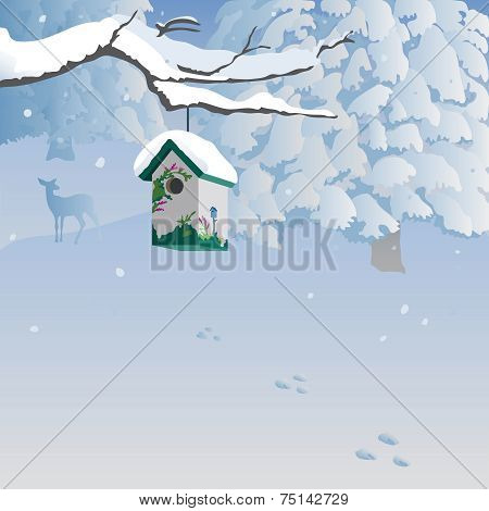 Winter scene with birdhouse, forest, deer.
