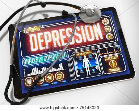 Depression on the Display of Medical Tablet.