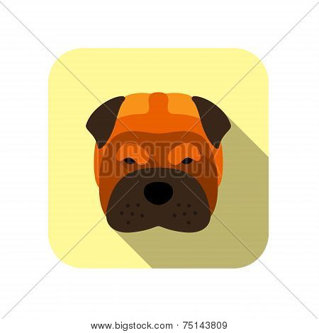 Shar-pei animal flat icon