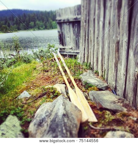 Oars by the boathouse