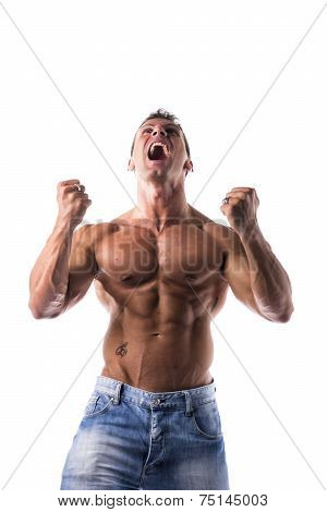 Successful Sexy Muscular Shirtless Man With Fists Raised