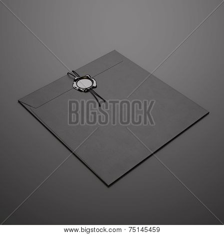 Black Square Envelope On Dark Background