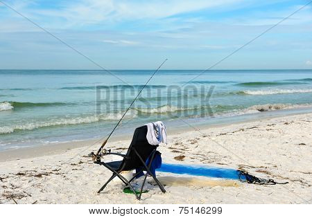 Beach Chair With Fishing Rod