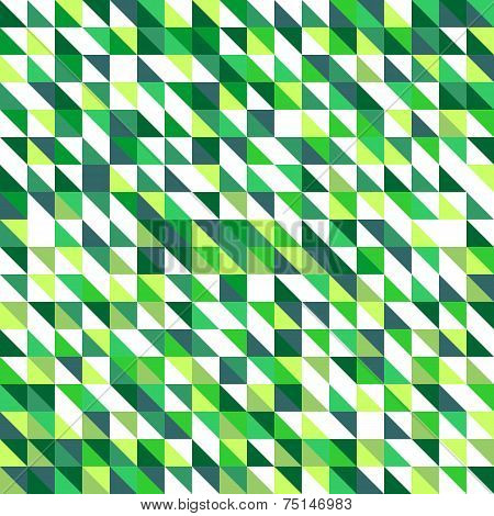 Tile vector pattern with white and green flat triangle mosaic background