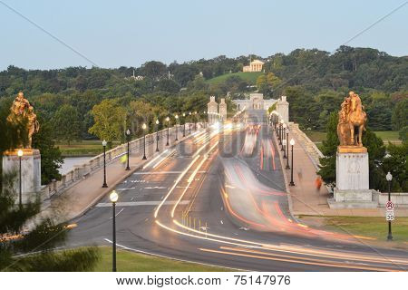 Washington DC, Arlington Memorial Bridge in early morning lights