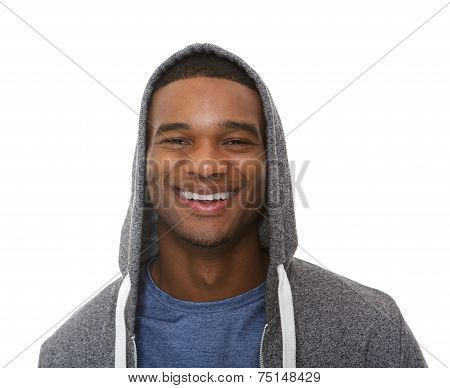 Close Up Portrait Of A Young Man Smiling With Hooded Sweatshirt