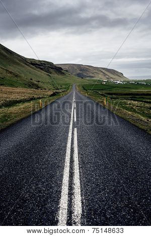 Winding mountain road, Iceland